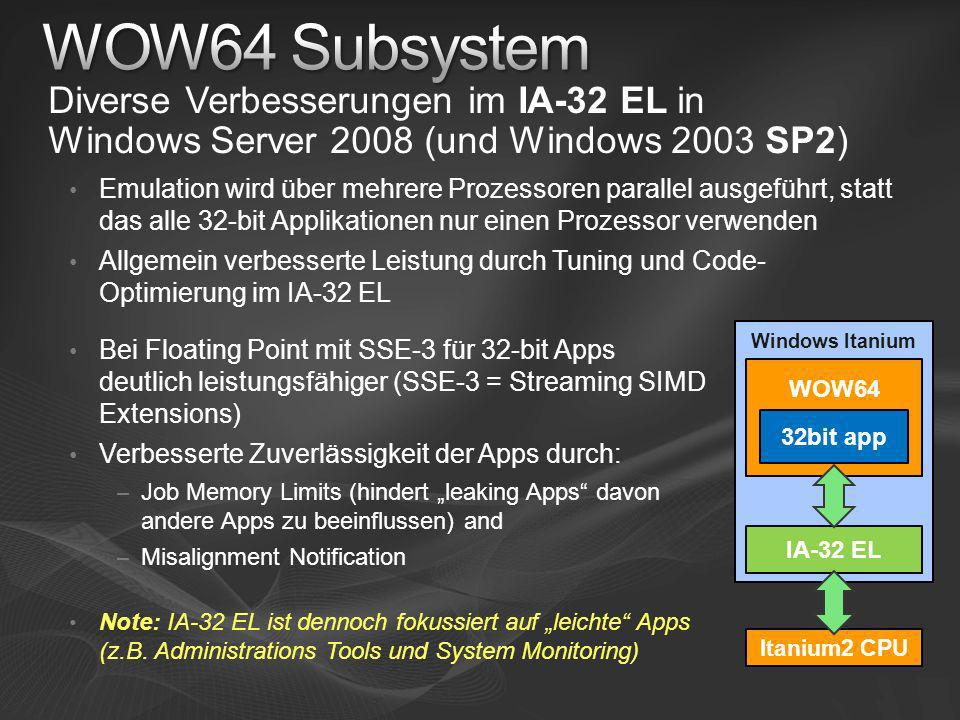 [Course Title] [Module Title] WOW64 Subsystem. Diverse Verbesserungen im IA-32 EL in Windows Server 2008 (und Windows 2003 SP2)